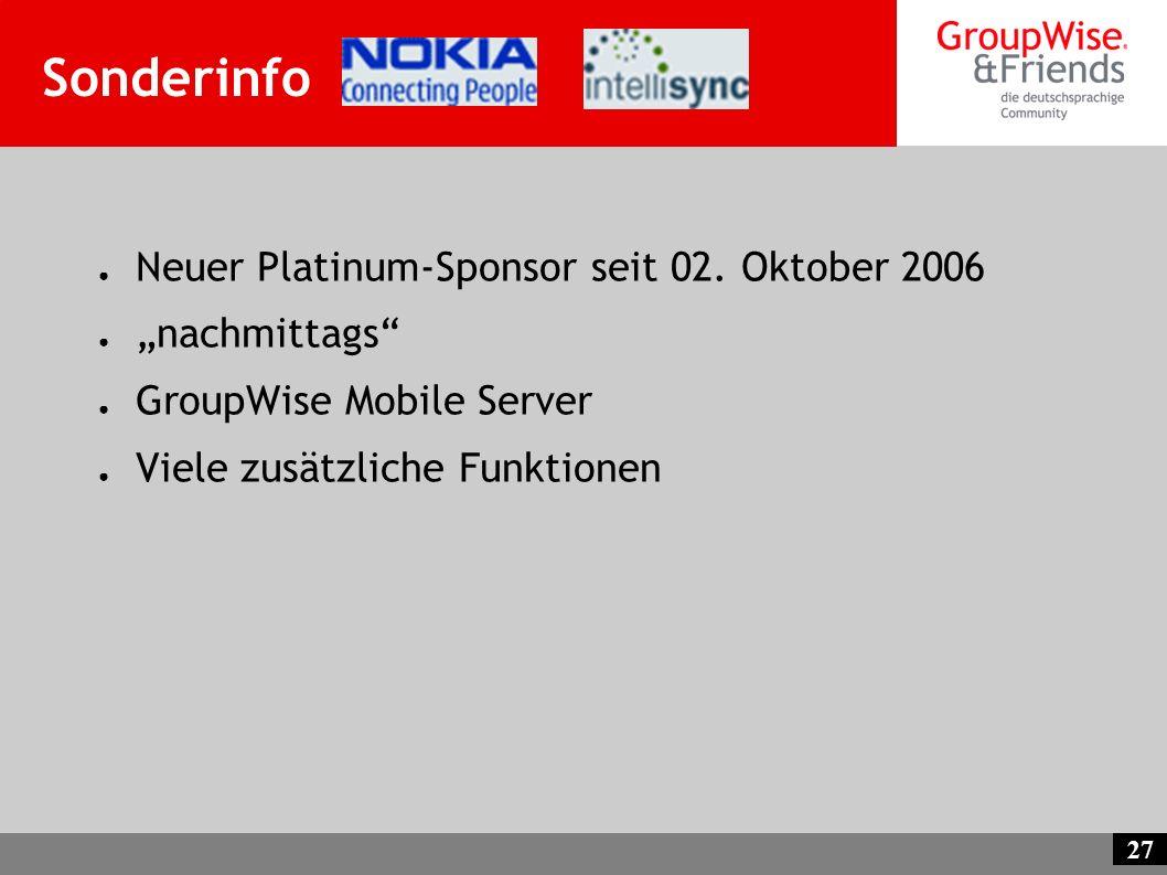 """Sonderinfo Neuer Platinum-Sponsor seit 02. Oktober 2006 """"nachmittags"""