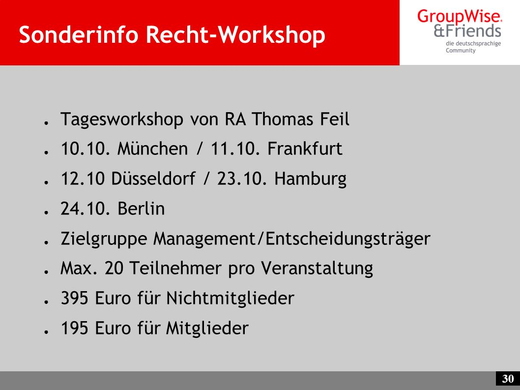 Sonderinfo Recht-Workshop