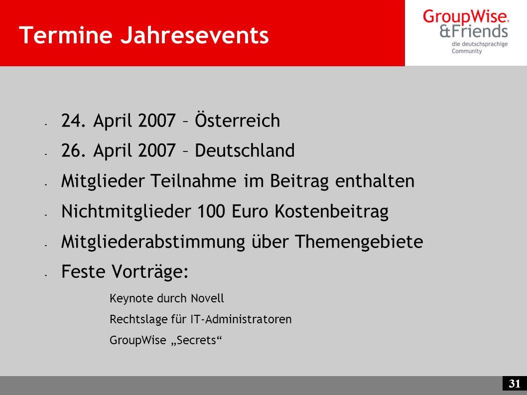 Termine Jahresevents 24. April 2007 – Österreich