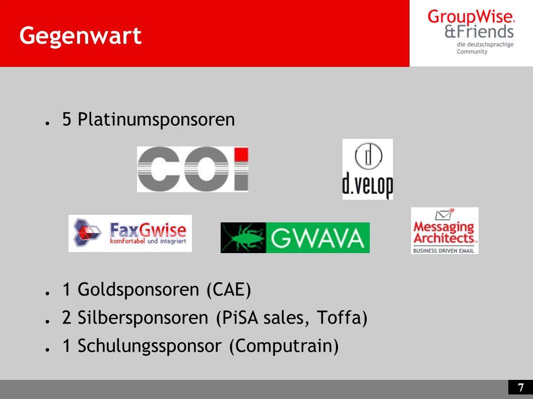 Gegenwart 5 Platinumsponsoren 1 Goldsponsoren (CAE)
