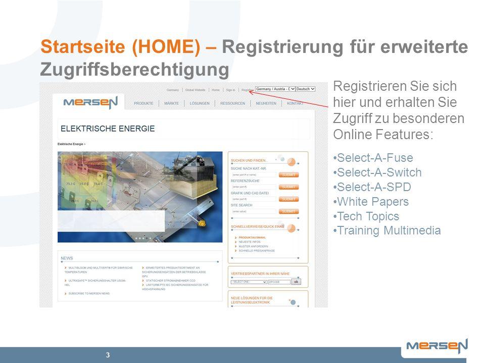 Startseite (HOME) – Registrierung für erweiterte Zugriffsberechtigung