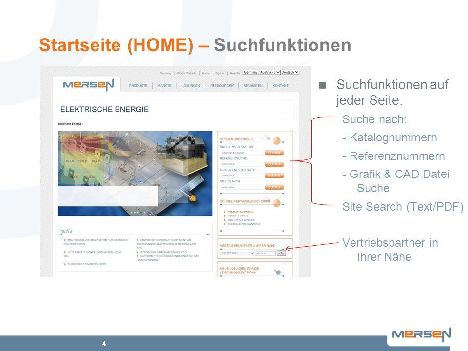 Startseite (HOME) – Suchfunktionen