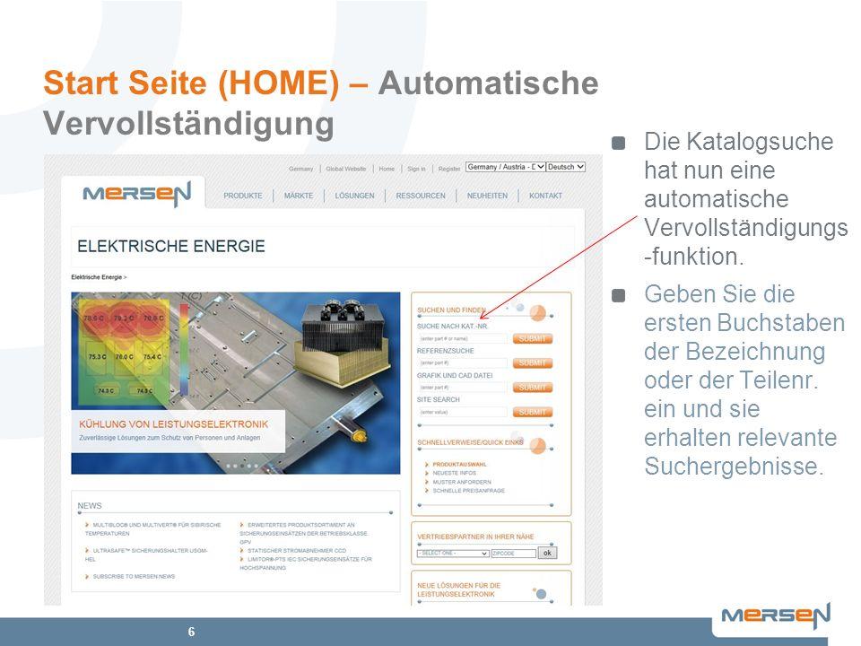 Start Seite (HOME) – Automatische Vervollständigung