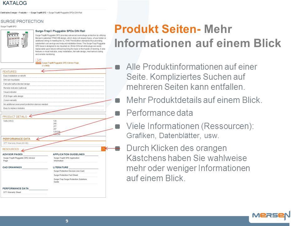Produkt Seiten- Mehr Informationen auf einem Blick