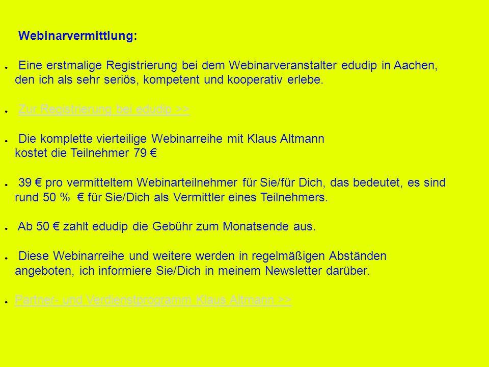 Webinarvermittlung: Eine erstmalige Registrierung bei dem Webinarveranstalter edudip in Aachen,