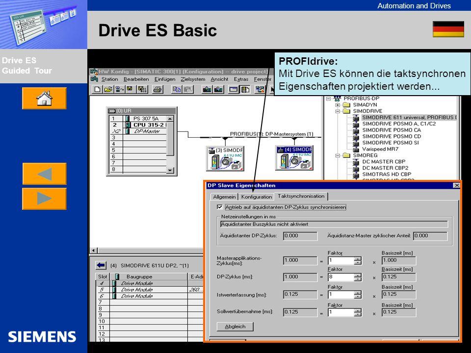 PROFIdrive: Mit Drive ES können die taktsynchronen Eigenschaften projektiert werden...