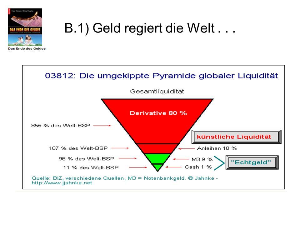B.1) Geld regiert die Welt . . .