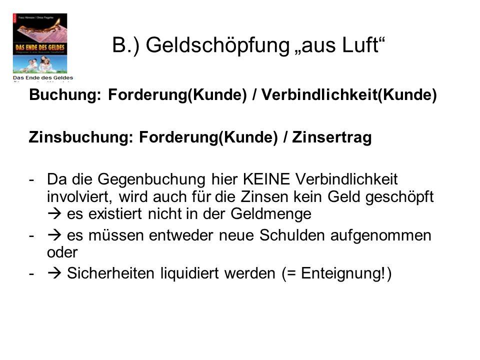 """B.) Geldschöpfung """"aus Luft"""