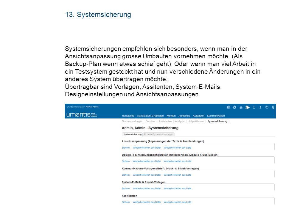 13. Systemsicherung