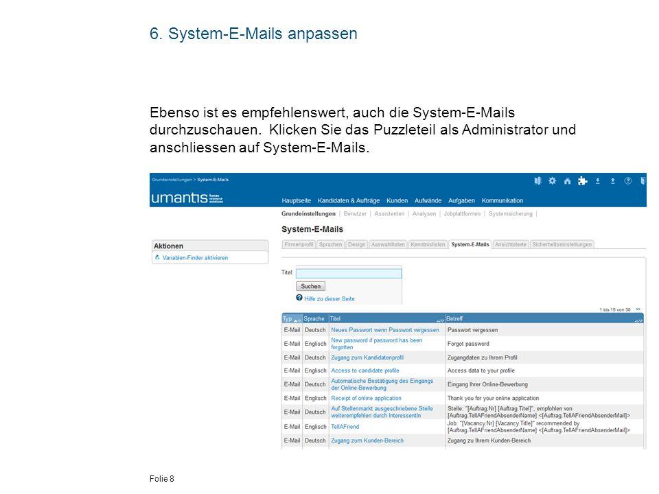 6. System-E-Mails anpassen