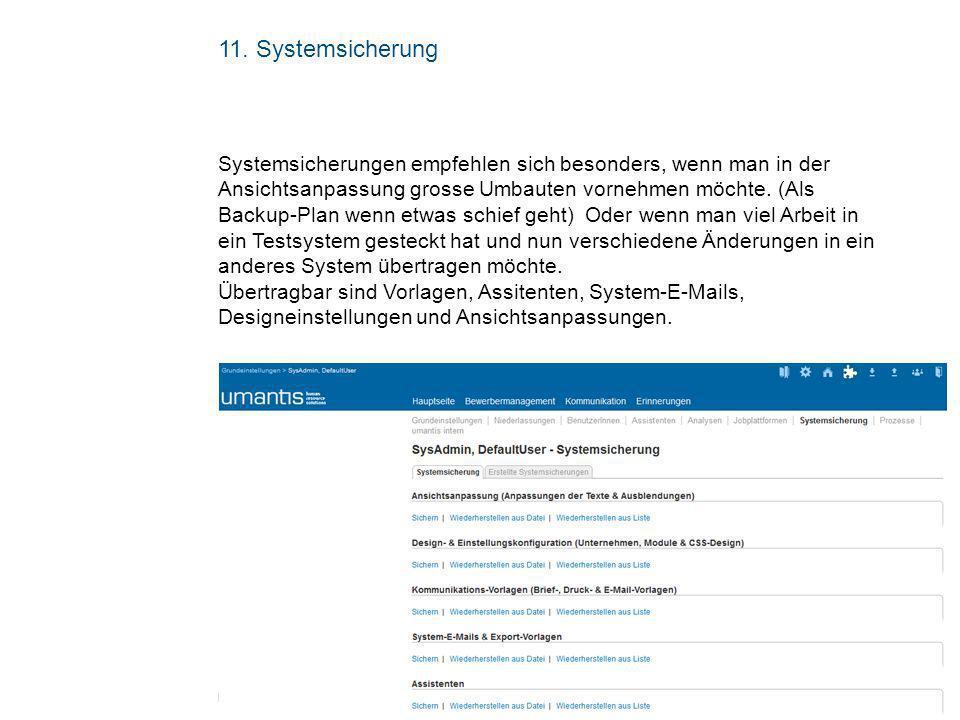 11. Systemsicherung