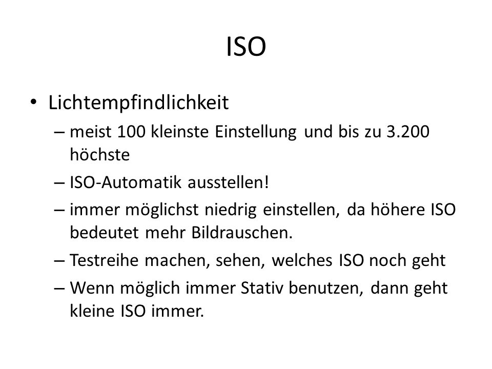 ISO Lichtempfindlichkeit