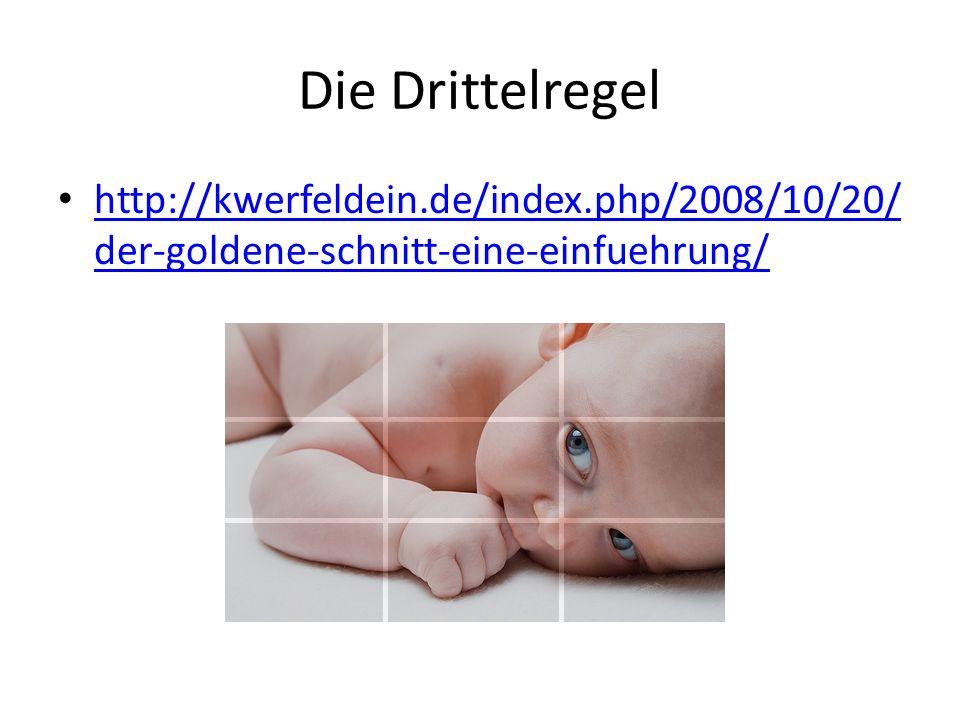 Die Drittelregel http://kwerfeldein.de/index.php/2008/10/20/der-goldene-schnitt-eine-einfuehrung/