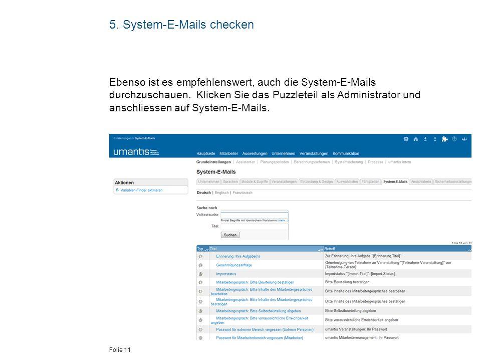 5. System-E-Mails checken