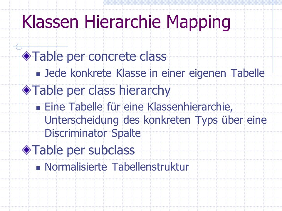 Klassen Hierarchie Mapping