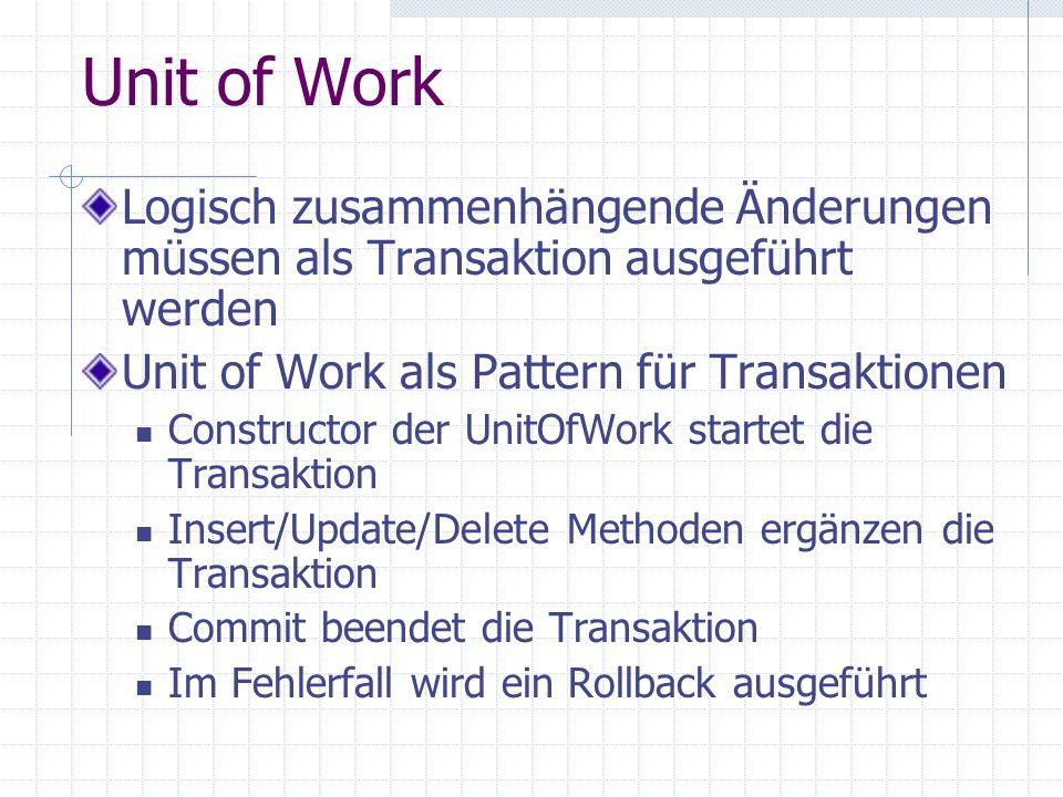 Unit of Work Logisch zusammenhängende Änderungen müssen als Transaktion ausgeführt werden. Unit of Work als Pattern für Transaktionen.