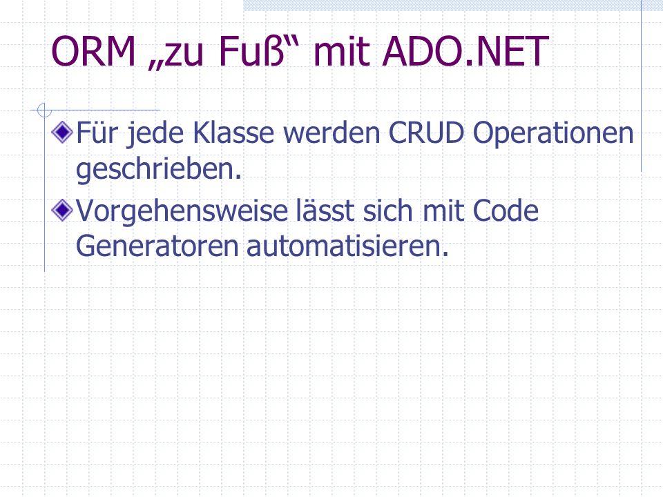 """ORM """"zu Fuß mit ADO.NET Für jede Klasse werden CRUD Operationen geschrieben."""