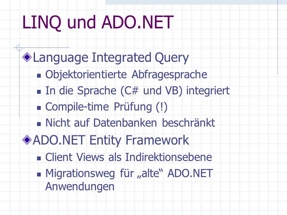 LINQ und ADO.NET Language Integrated Query ADO.NET Entity Framework
