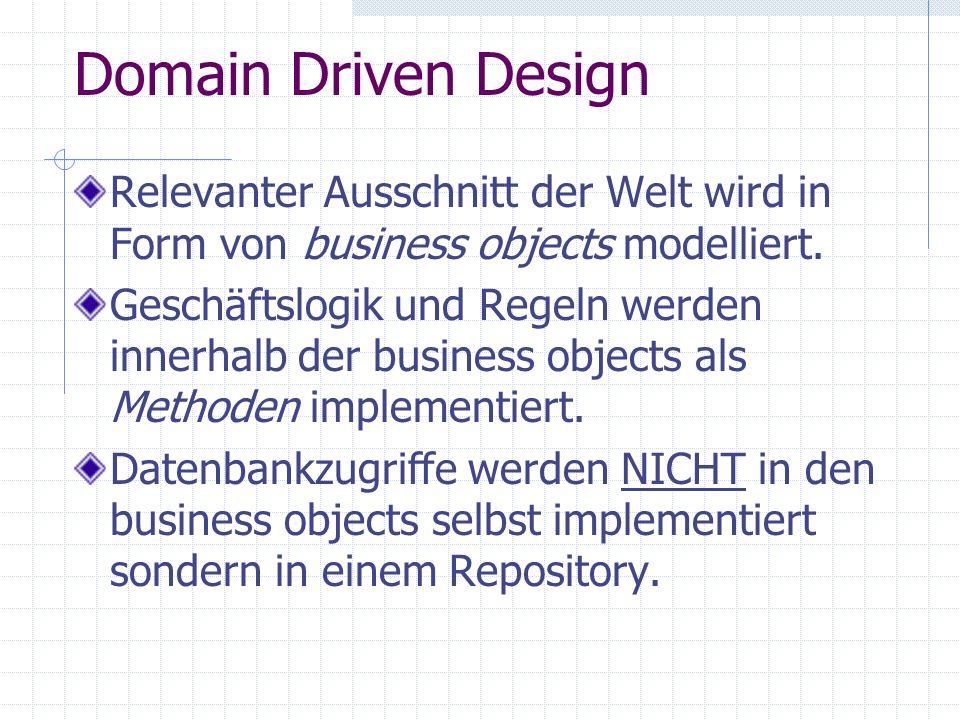Domain Driven Design Relevanter Ausschnitt der Welt wird in Form von business objects modelliert.