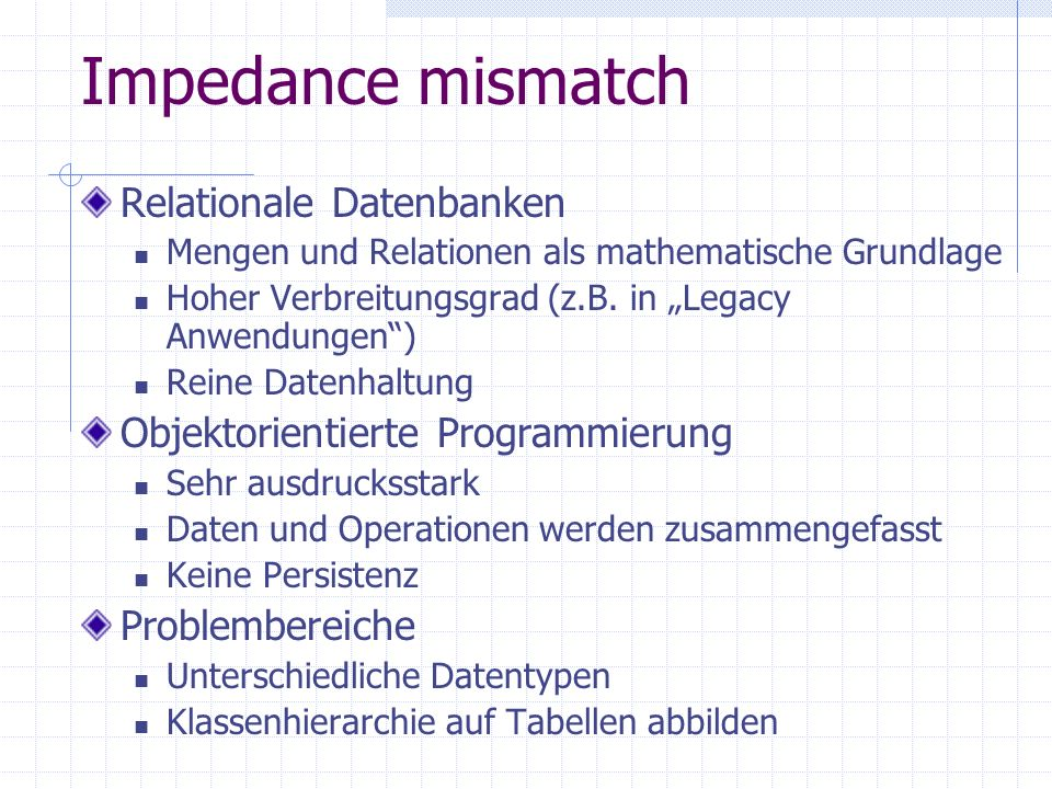 Impedance mismatch Relationale Datenbanken