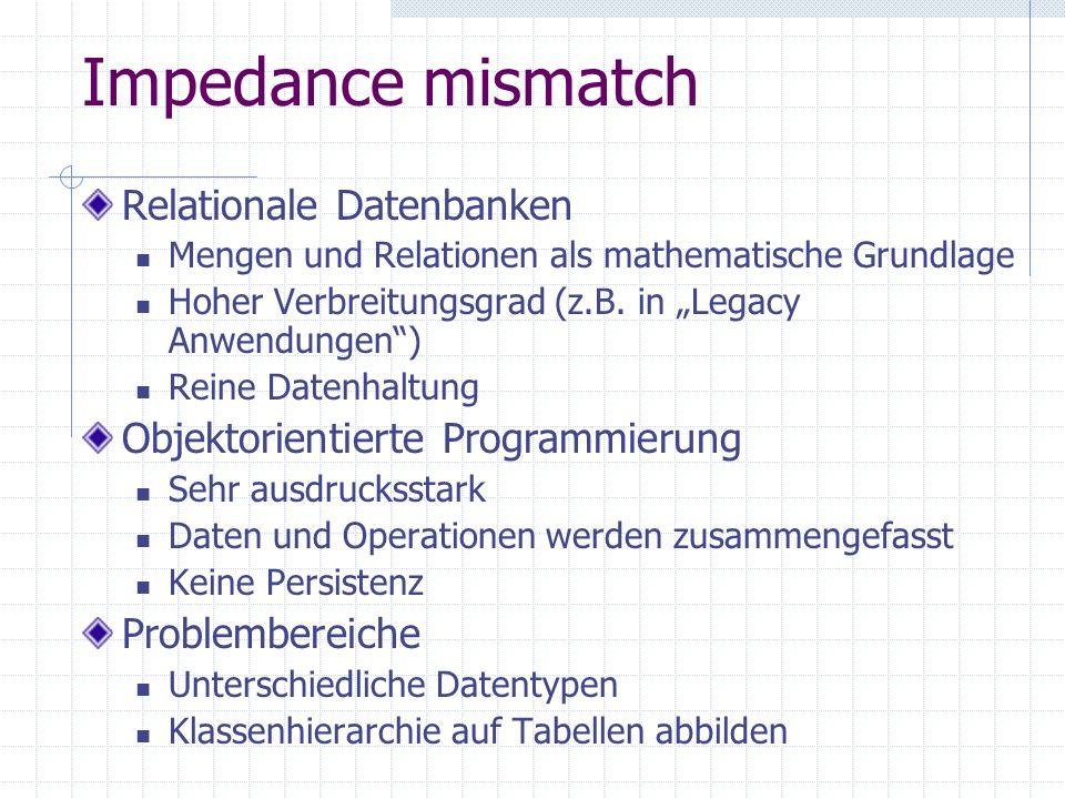 Impedance mismatch Relationale Datenbanken