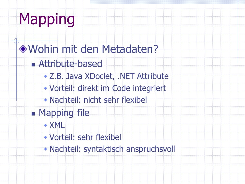 Mapping Wohin mit den Metadaten Attribute-based Mapping file