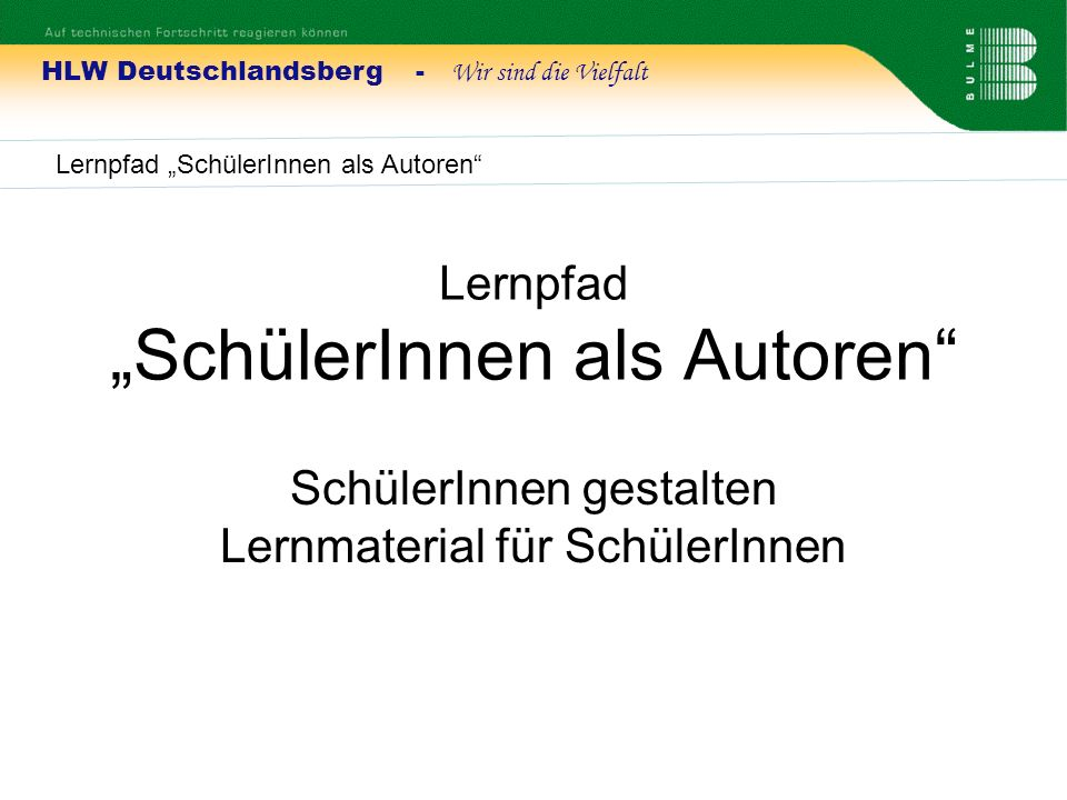 "Lernpfad ""SchülerInnen als Autoren"