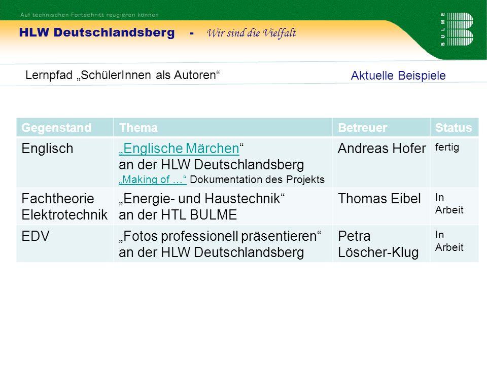 """""""Englische Märchen an der HLW Deutschlandsberg Andreas Hofer"""