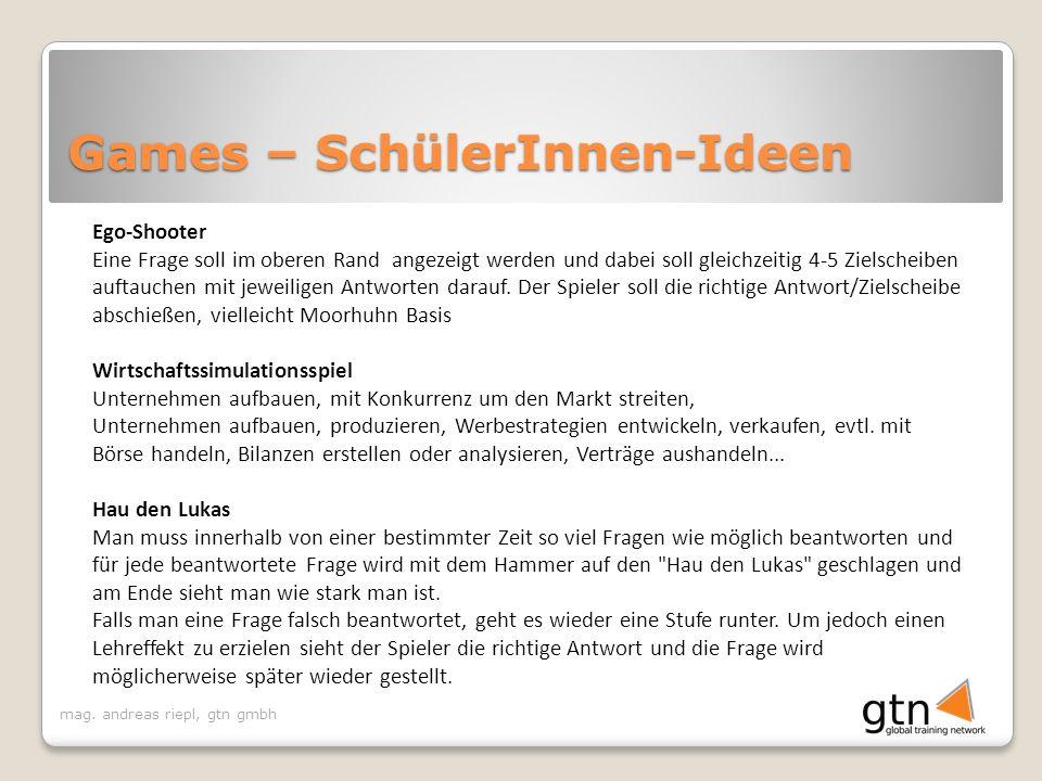Games – SchülerInnen-Ideen