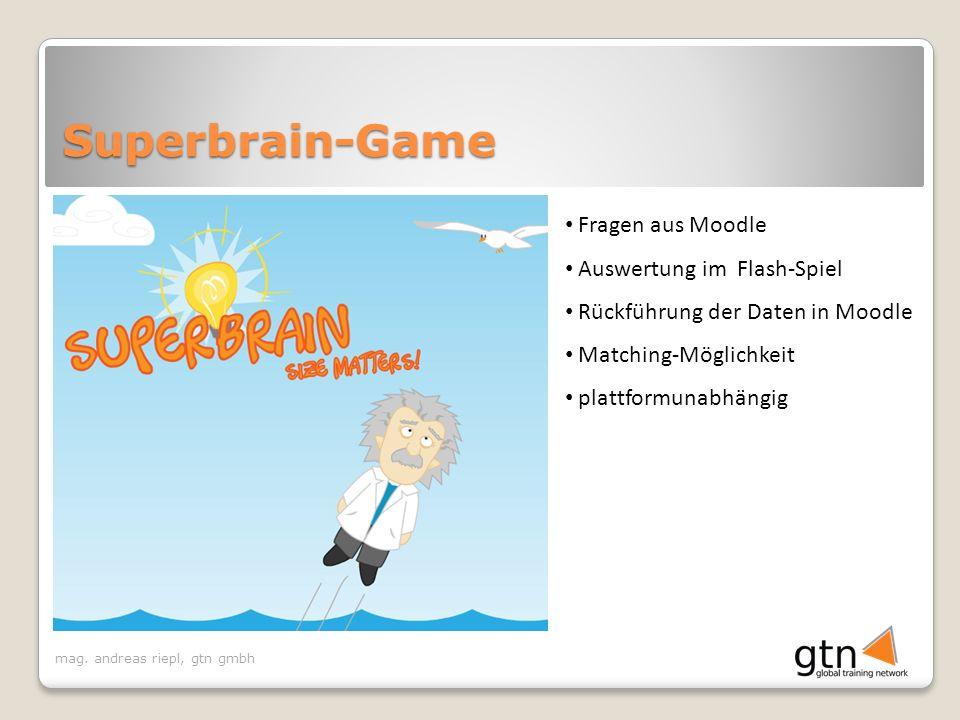 Superbrain-Game Fragen aus Moodle Auswertung im Flash-Spiel