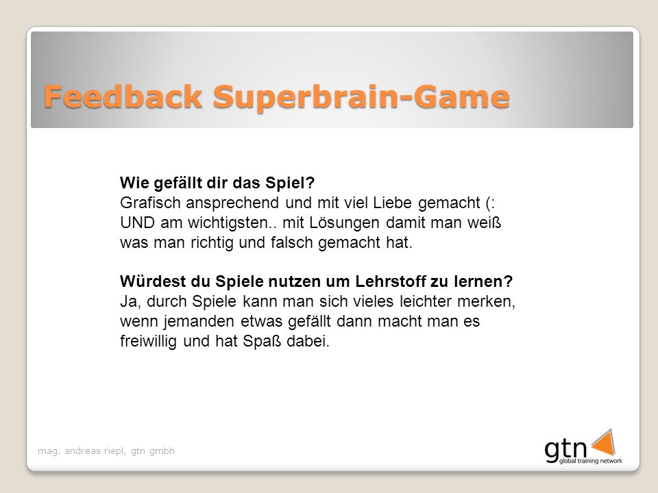 Feedback Superbrain-Game