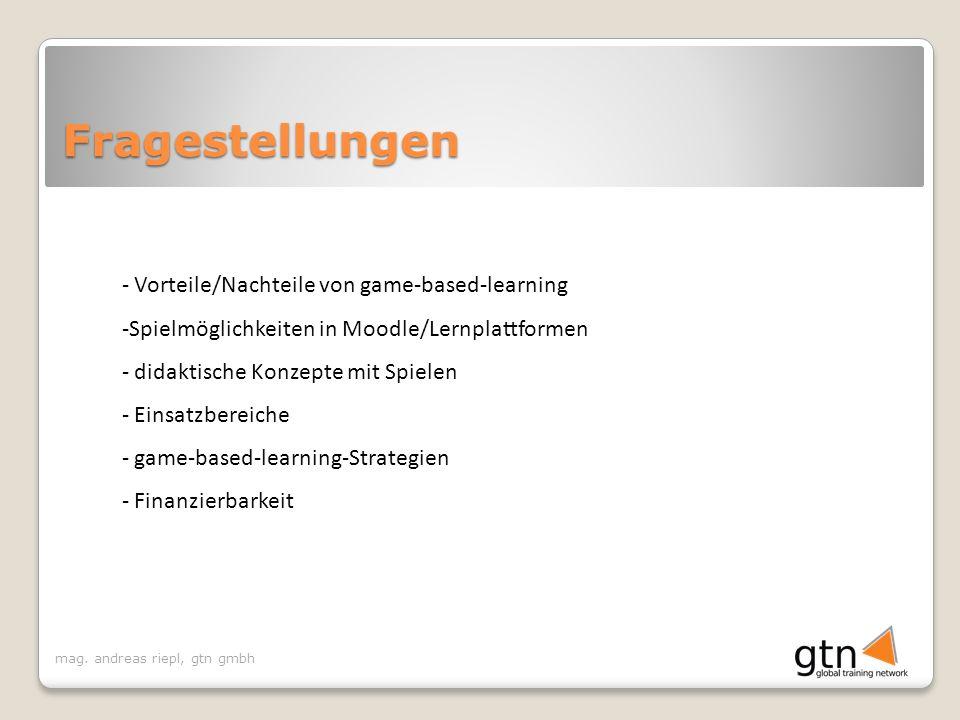 Fragestellungen Vorteile/Nachteile von game-based-learning