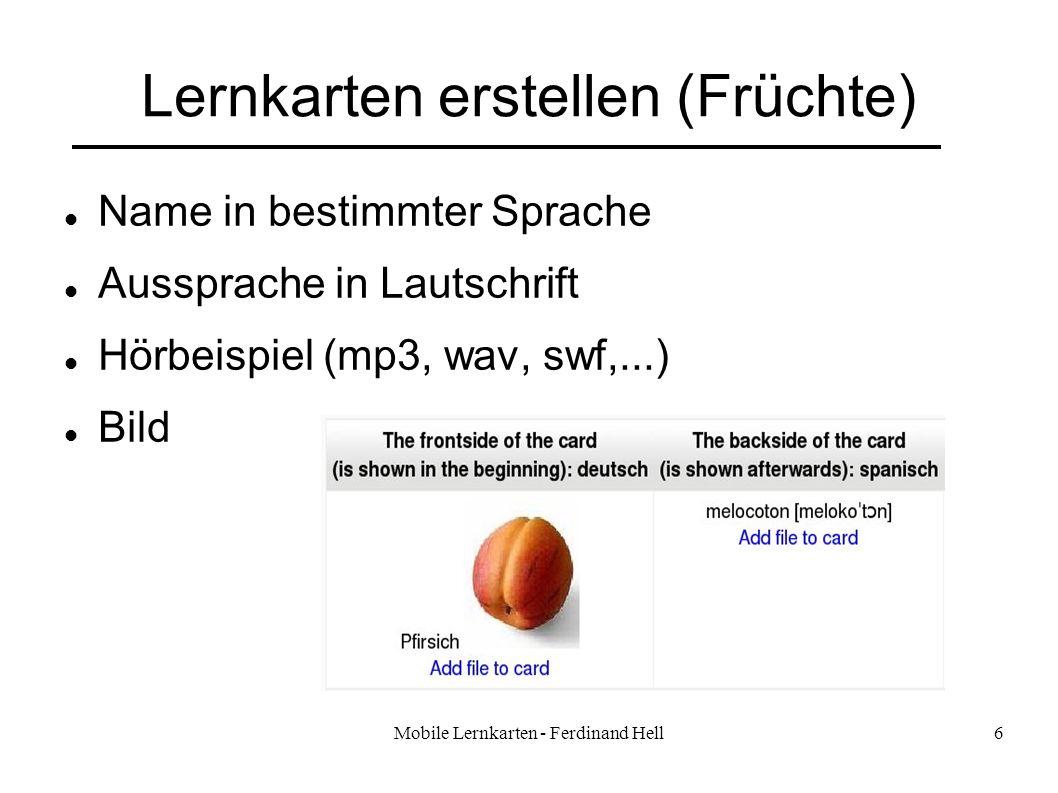 Lernkarten erstellen (Früchte)