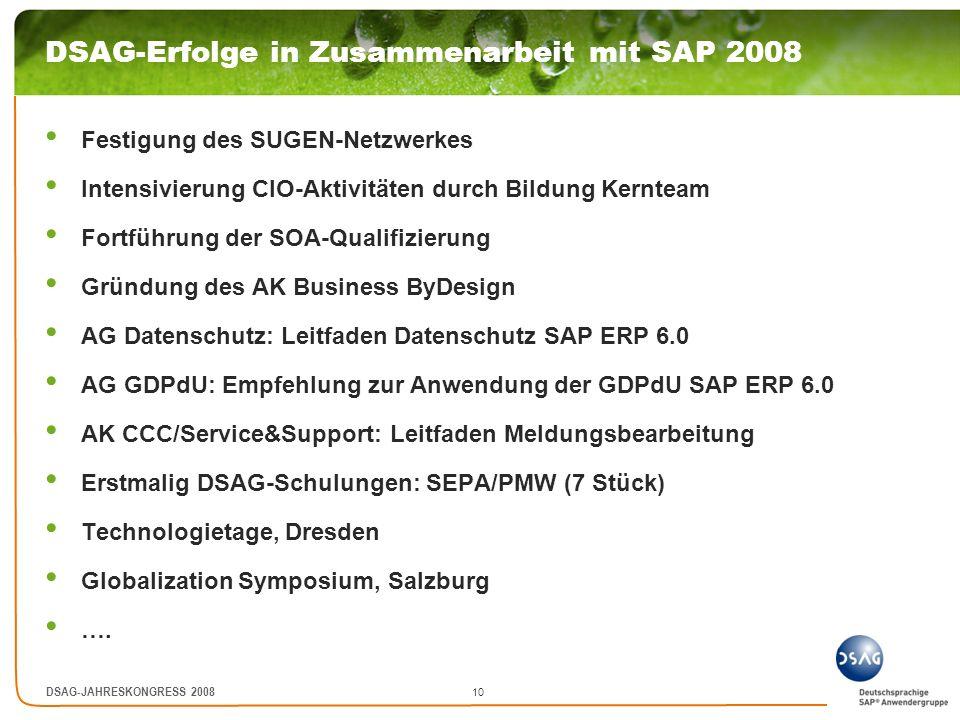 DSAG-Erfolge in Zusammenarbeit mit SAP 2008