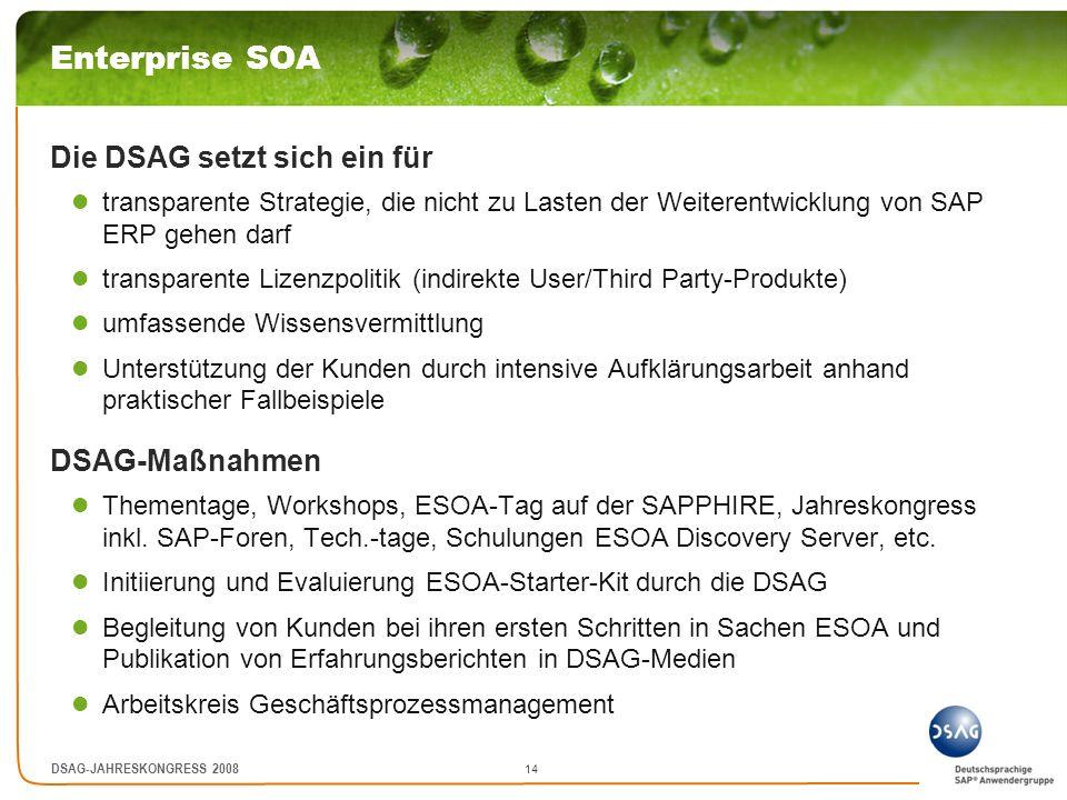 Enterprise SOA Die DSAG setzt sich ein für DSAG-Maßnahmen