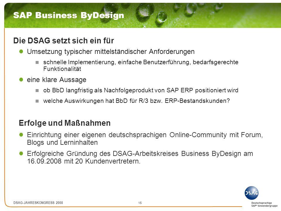 SAP Business ByDesign Die DSAG setzt sich ein für