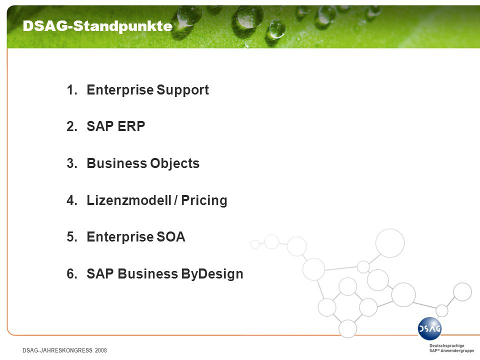 DSAG-Standpunkte Enterprise Support SAP ERP Business Objects