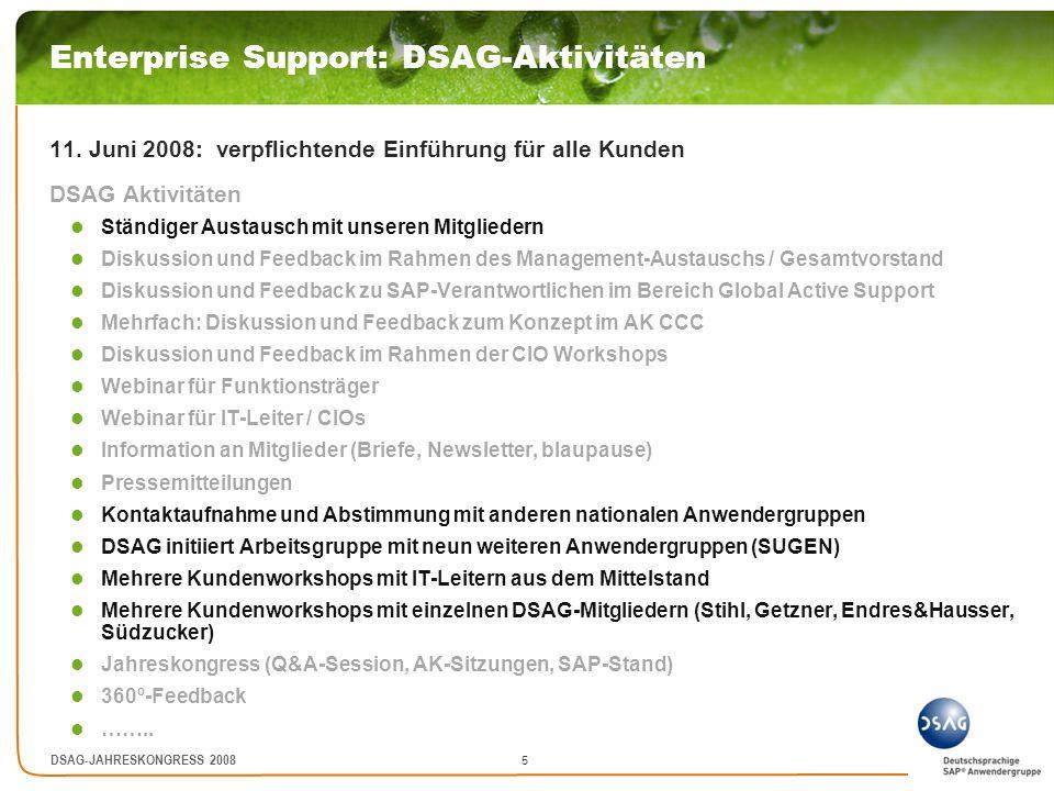 Enterprise Support: DSAG-Aktivitäten