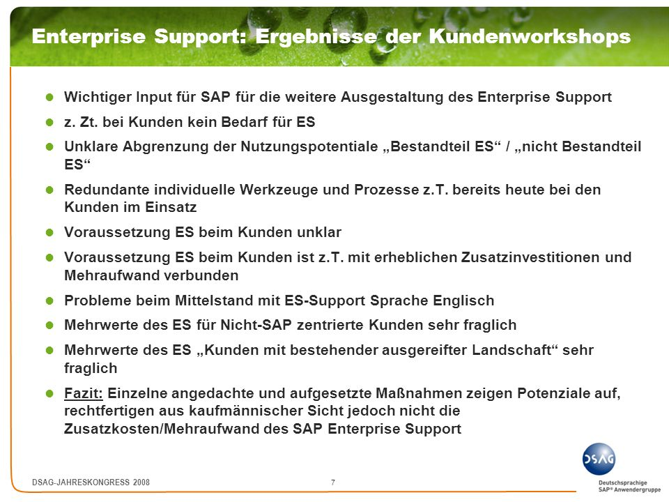 Enterprise Support: Ergebnisse der Kundenworkshops