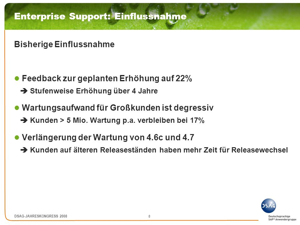 Enterprise Support: Einflussnahme