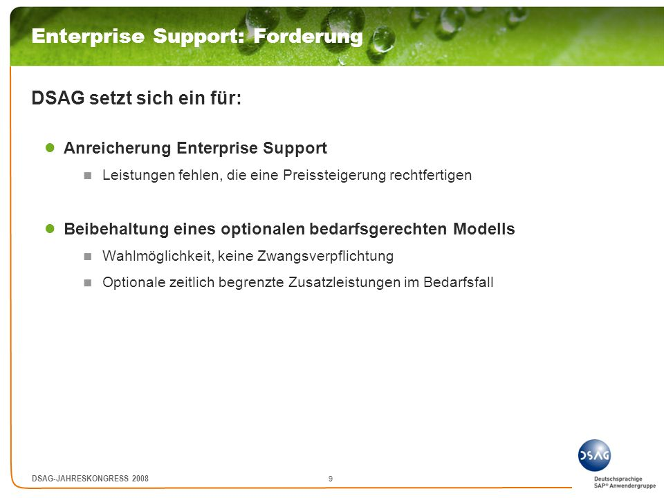 Enterprise Support: Forderung