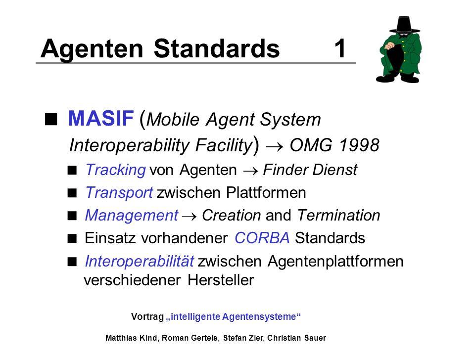 Agenten Standards 1 MASIF (Mobile Agent System Interoperability Facility)  OMG 1998. Tracking von Agenten  Finder Dienst.