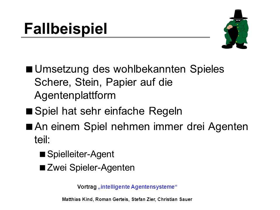 Fallbeispiel Umsetzung des wohlbekannten Spieles Schere, Stein, Papier auf die Agentenplattform. Spiel hat sehr einfache Regeln.