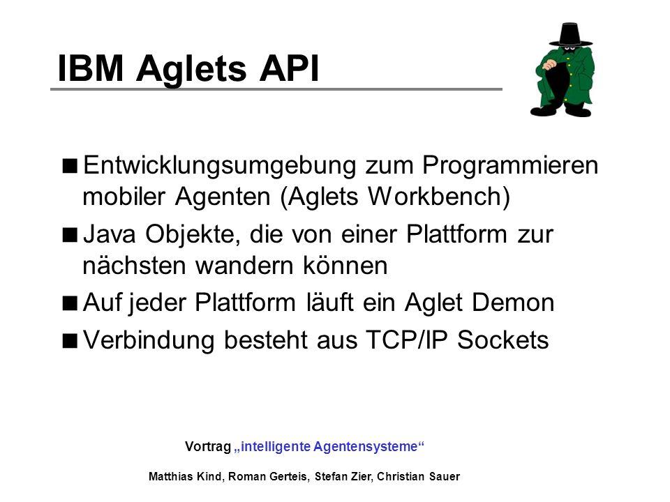 IBM Aglets API Entwicklungsumgebung zum Programmieren mobiler Agenten (Aglets Workbench)