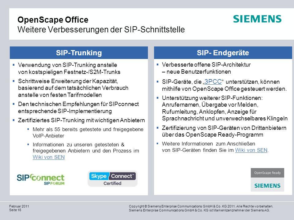 OpenScape Office Weitere Verbesserungen der SIP-Schnittstelle