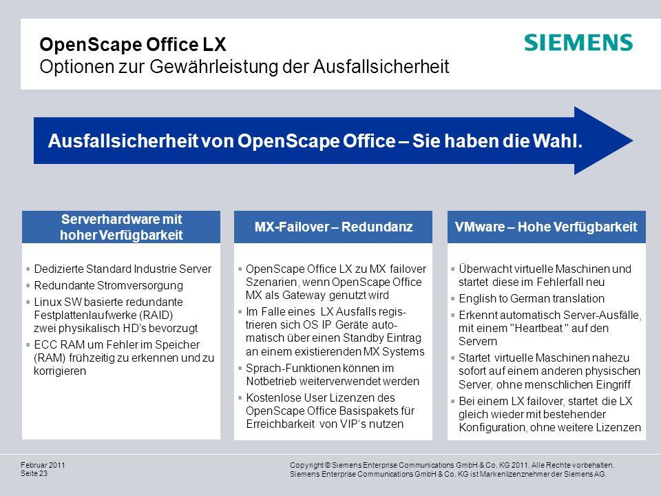 OpenScape Office LX Optionen zur Gewährleistung der Ausfallsicherheit