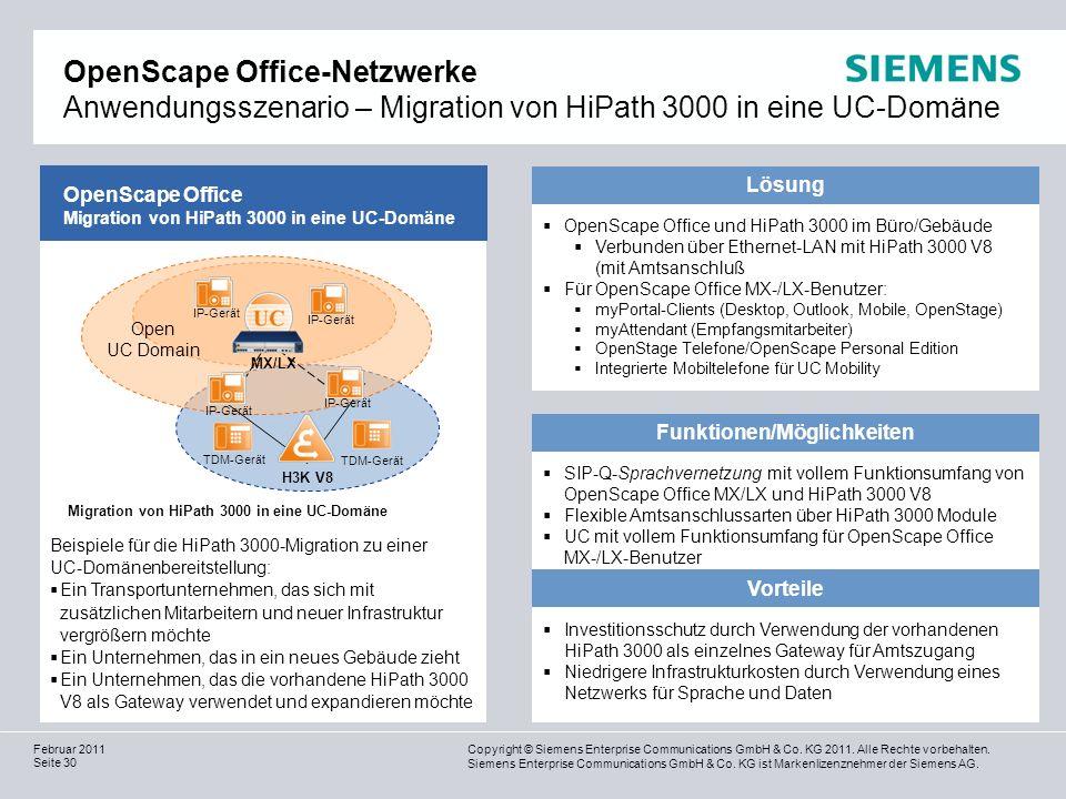 Funktionen/Möglichkeiten Migration von HiPath 3000 in eine UC-Domäne