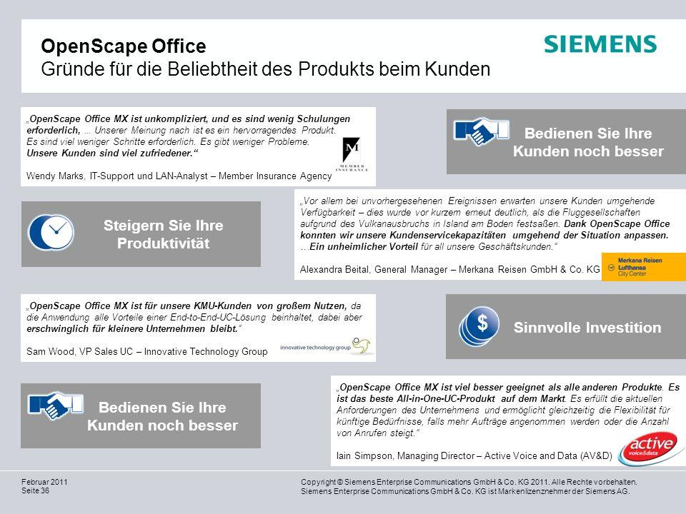 OpenScape Office Gründe für die Beliebtheit des Produkts beim Kunden
