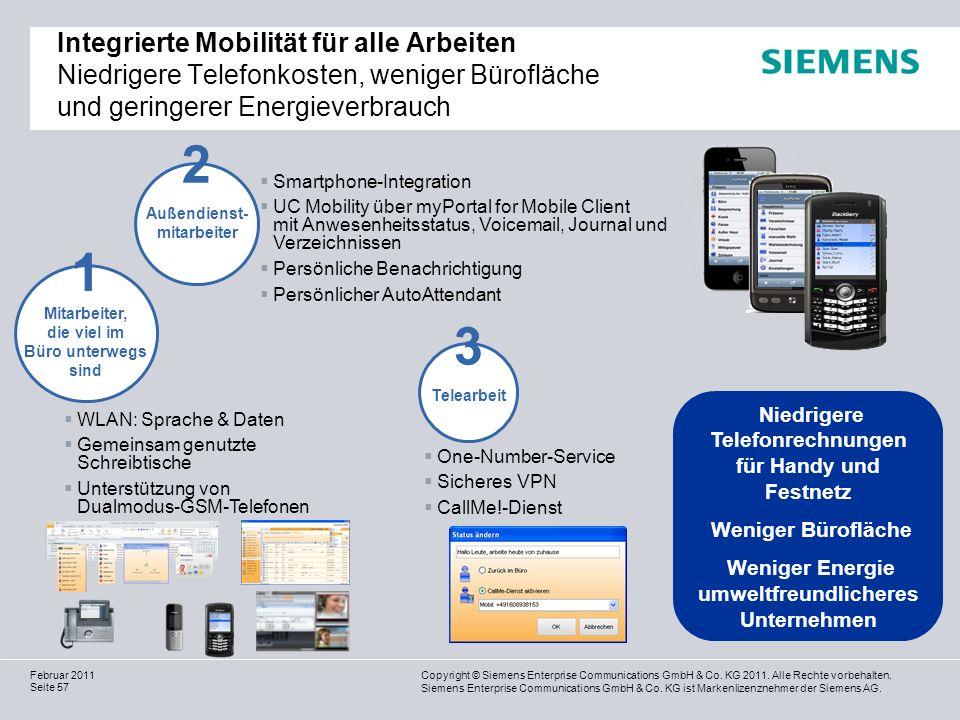 Integrierte Mobilität für alle Arbeiten Niedrigere Telefonkosten, weniger Bürofläche und geringerer Energieverbrauch