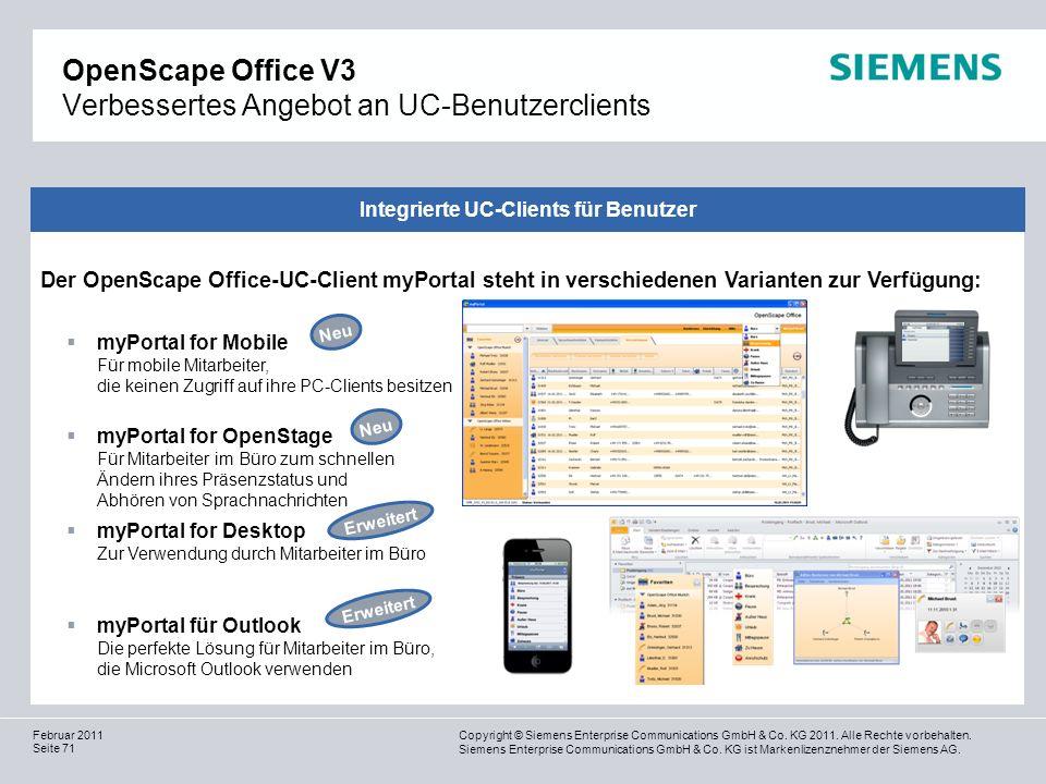 OpenScape Office V3 Verbessertes Angebot an UC-Benutzerclients